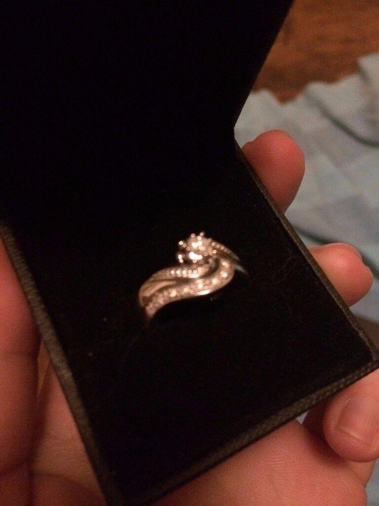 H. Samuel Argentium Silver 0.15 Carat Diamond Bridal Ring Set