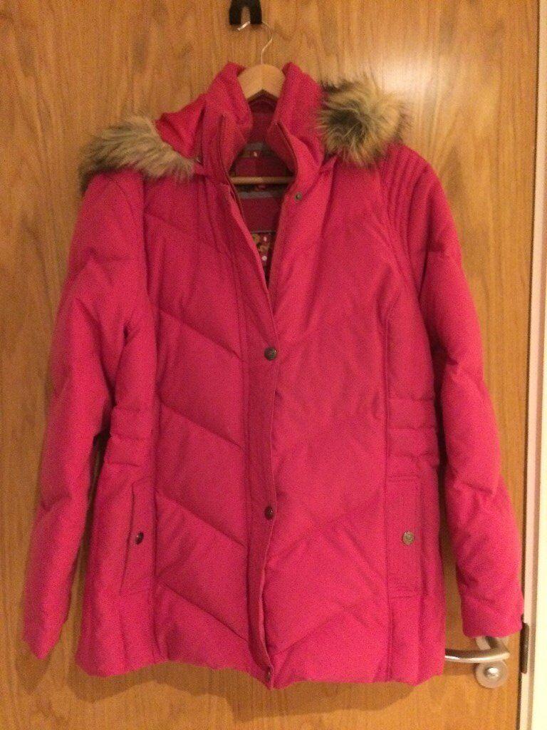 'PER UNA' Ladies 'down-filled' winter jacket, size XL - dark pink, lovely condition.