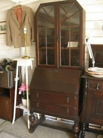 VINTAGE ORNATE OAK GLAZED CABINET OVER BUREAU. TOP DETACHABLE. VIEWING/DELIVERY AVAILABLE