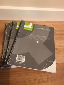 3 brand new A4 spiral bound 80 page note pads.