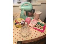 Shabby chic farmhouse style baking bundle job lot kitchen mixer cookbooks cake stand jug