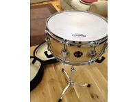 DW Collectors Birch snare, 13x6, natural finish, with protection racket case.