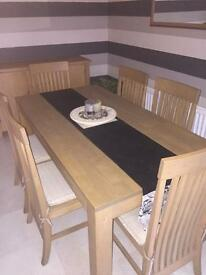 6 seater dining table with 6 chairs