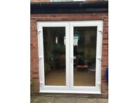 WHITE UPVC FRENCH DOORS 1200MM X 2100MM WITH GLASS