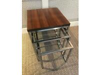 Nest of 3 x Chrome/Glass/Wood Tables