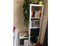 white ikea shelf- with the black box