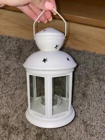 2x IKEA white candle lanterns