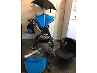 silver cross wayfarer travel system pram pushchair simplicity blue changing bag stroller buggy boys