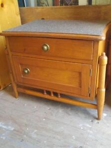 Oakville ANTIQUE BEDSIDE TABLE Solid Wood Refinished Top Old Vintage Retro Pine Nightstand one only