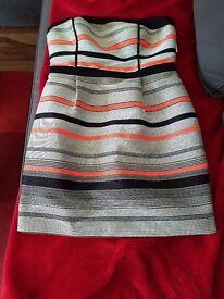 Warehouse Stripe Jacquard Bandeau Dress plus high heel shoes UK 6 .
