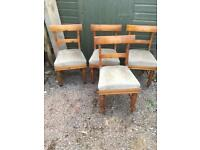 4 old solid pine chairs