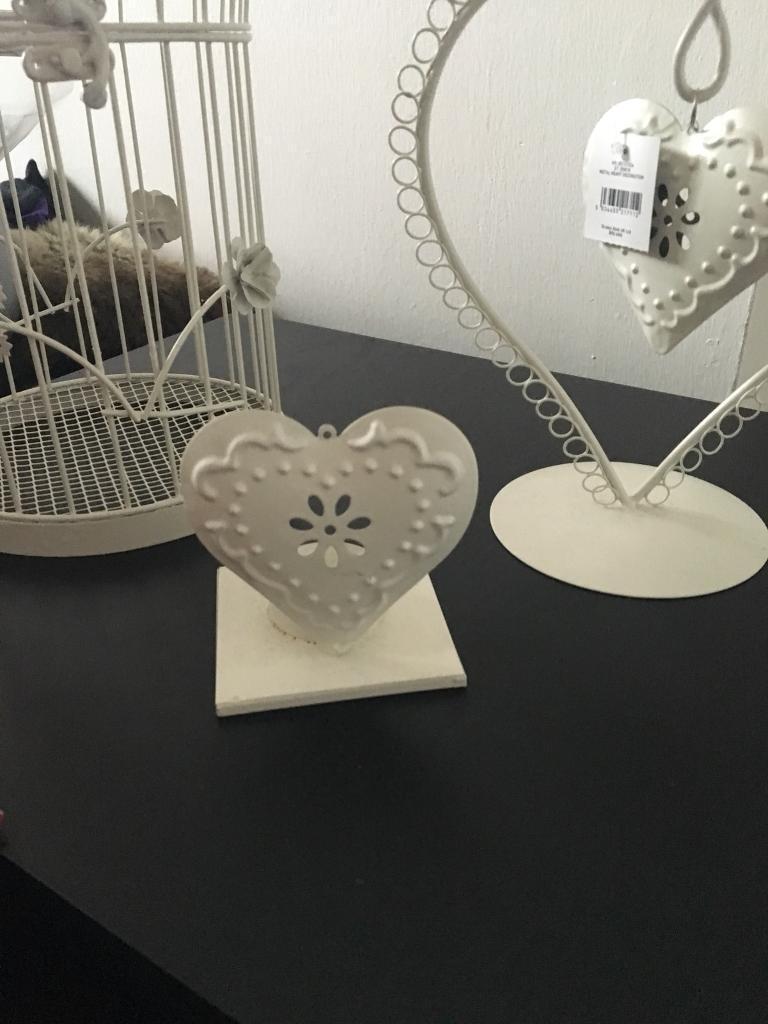 Bird cadge, heart ornament & heart tea light holder