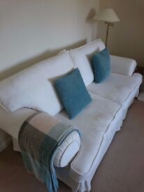 Three Piece Sofa in cream with set of brand new replacement covers - Excellent condition