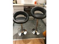 Pair of breakfast bar stools, black/chrome. Excellent condition
