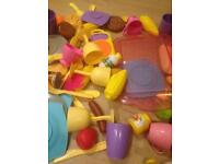 PLASTIC AND WOODEN SET OF FOOD CUPS CUTLERY PICNIC KITCHEN STUFF FOR KIDS