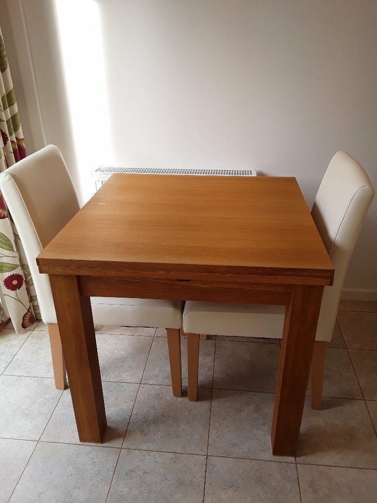 Solid Oak Square To Rectangle Dining Table And 2 Chairs