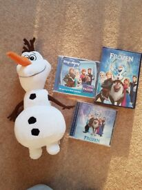 Disney Frozen dvd, 2 cds and Olaf soft toy bundle