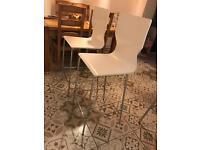 X2 white bar stools