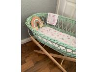 Moses basket sage green with rainbow theme or plain
