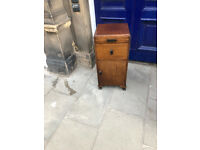 Vintage Mahogany Bedside Table in good condition. With pull out shelf , drawer and storage area .