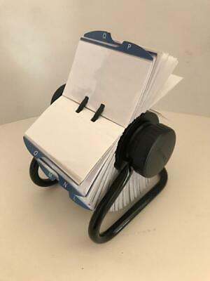 Open Rolodex Rotary Business Card Holder Transparent Sleeves Dividers