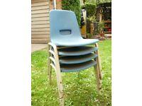 Vintage Retro E Series Robin Day School Child Stacking Chair X 4 Garden
