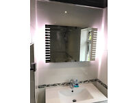 Bathroom LED Mirror 900 x 600 With Infra-Red Sensor, Demister Pad,