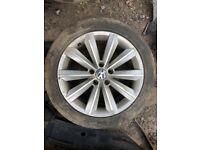 2013 VW PASSAT CC Alloy Wheel 5 Stud, 10 Spoke Turbine Design 8J X 18 Inch ET41