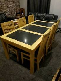 Bentley designs solid beech and granite dining table and 6 chairs