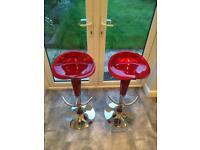 Red chrome bar stools x2