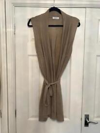 NEW M&S BEIGE LONG SLEEVELESS CARDIGAN LINEN/ SILK SIZE 18 FABULOUS