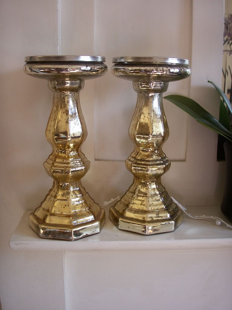 Pair Gold Mercury Glass Pillar Candle Holders