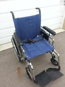 """#029  20"""" wide Maple Leaf SWIFT Manual Folding Wheelchair with BLUE seatback and seatbase  ONLY $250"""