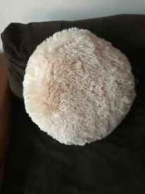 Large round super soft light pink cushion