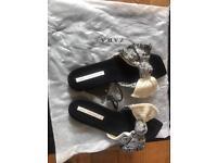 Zara fabric bow slides size 42 uk 9