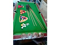 Pool table, slate top, 50p coin slot, varios sets of balls, ques & bits n pieces