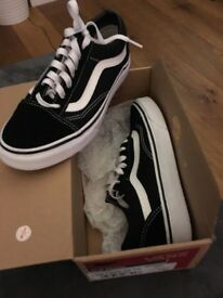 Vans old skill trainers black and white. Size 3.5 worn once only.