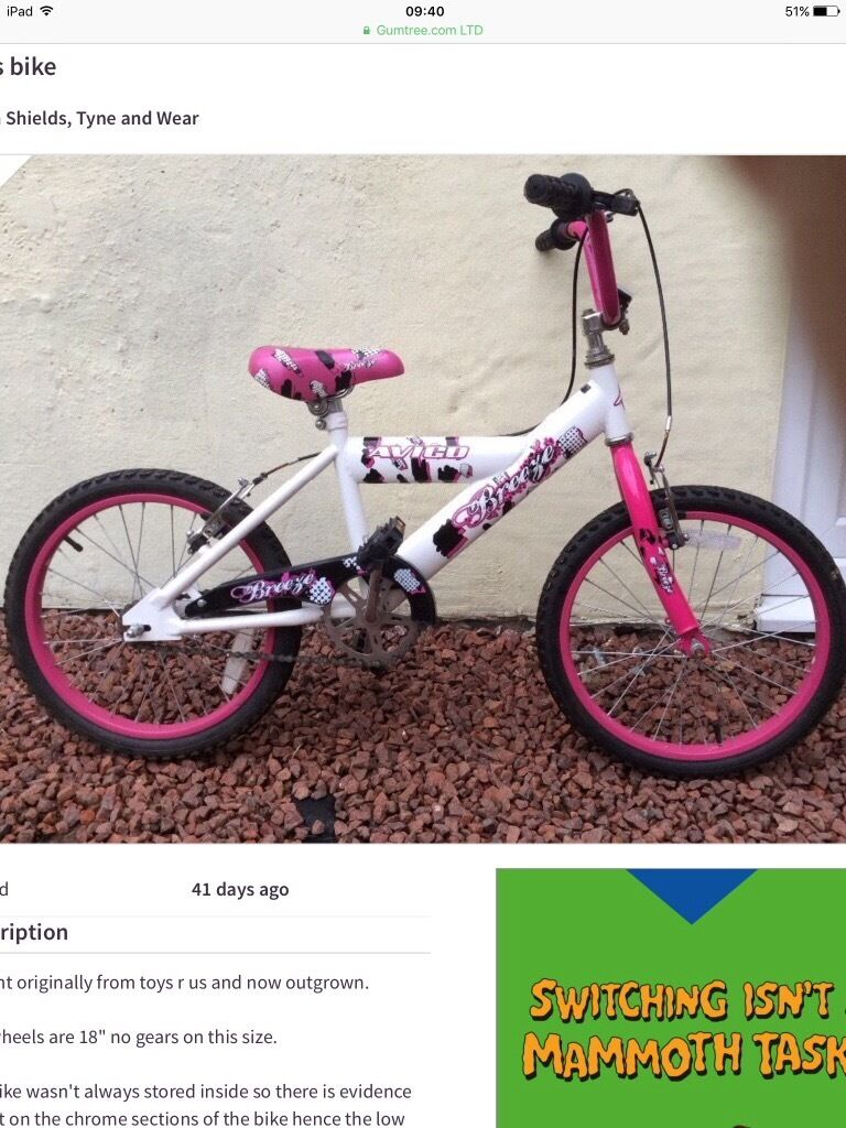 Girls bike 18inch wheels