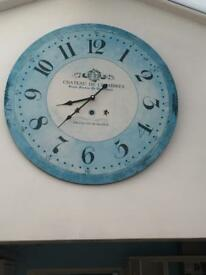 Large blue wall clock