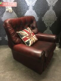 Fantastic Chesterfield Monk Back Chair Oxblood Leather - Uk Delivery