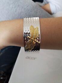 Dragonfly silver plated bracelet