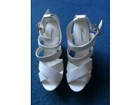 White Breckelles Wedge Sandals, Size 7, Brand New
