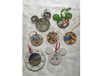 7 DISNEY China Hanging Ornaments - (4 Dated Pieces - 25th Anniversary & Millennium)