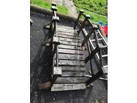 Beautiful wooden bridge for garden / patio decking