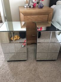 Mirrored bed side tables