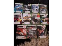 Black xbox 360 with 11 racing games