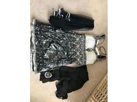 Black, White and Metallic Silver Indian Suit