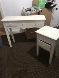 Slimline dresser and bed side table in white