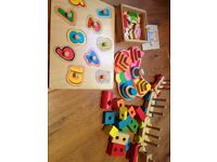 Wooden puzzles and train/block set
