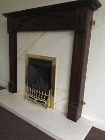 Fire and marble surround with wooden frame
